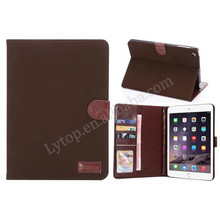 retro plain pattern slim leather cover for apple ipad mini 1 2 3, stand wallet cover for ipad mini with tpu case