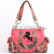 FAUX LEATHER PINK SOUTHWEST HORSE SATCHEL