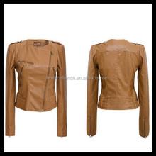 Spring Autumn Women Lapel Motorcycle Pu Leather Zipper Slim Short Coat Jacket