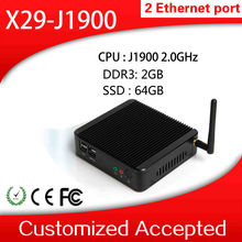 mini pc desktop thin client vga industrial embedded pc X-29 j1900 dual lan 2GB RAM 64GB SSD support WIN7,Linux,Window 95 etc