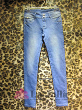 2015 New Fashion Strass Beaded Washed Plain Dyed Ladies Long Jeans H-019