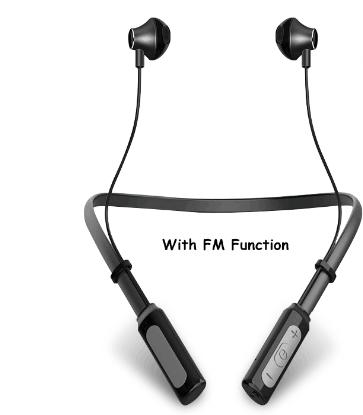 neckband deporte metal auriculares con función de radio FM banda BQB CE RoHS auriculares de deporte con mucho tiempo de música
