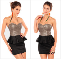 C80958A Europe and America sexy chest wrapped frilly dress