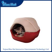 Comfortable soft pink burger bun pet cat bed