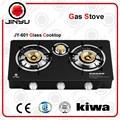 las ventas caliente 3 quemador de latón negro cubierta de vidrio templado de la estufa de gas de encendido automático