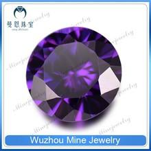 Brilliant Cut Amethyst CZ Gemstone/Machine Cut China Gems/Round Zircon