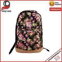 Woman Zip Design Floral Prints Backpack School bag