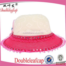 2015 Popular Laced Girl Straw Hats Sun Visor Caps For Kids With Shining Decorations
