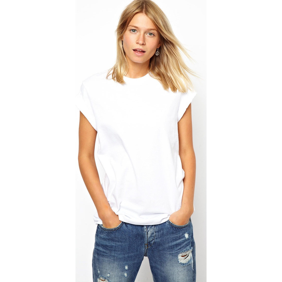 Women white tshirt with short sleeves wholesale Cheap plain white shirts