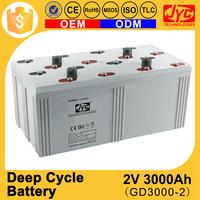 Multiple functions Green energy deep cycle 2v 3000ah high power battery