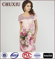 2015 latest digital printing customized ladies elegant silk nightgowns