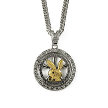 2015 new china wholesale stock hip hop bling jewelry movable rabbit round plate pandant necklace