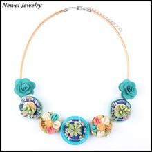 Newei Fabric Resin Handmade Flower Statement Necklace Choker Collar For Girl Women