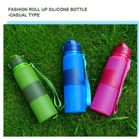 silicone foldable water bottle Christmas Present silicone folding customization folding water bottle