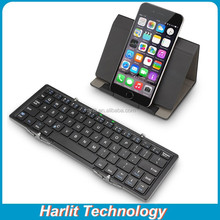 Mini Portable Folding Bluetooth Keyboard For iPhone 6 Plus Tri-Folding Bluetooth Keyboard With Leather Stand