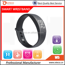 2015 best smart band W5,color smart wrist band with sleep monitor tempreture display.