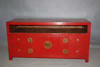 Chinese Antique Reproduction Furniture Red Console TV Cabinet Stands