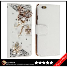 Keno White Luxury 3D Fashion Handmade Bling Diamond PU Flip Leather Mobile Phone Flip Case for iPhone6