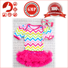 Cheap cotton chevron baby romper wih ruffles new style soft baby toddlers romper dress cute baby fany romper design