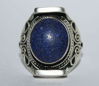 Wholesale ethnic handmade 925 sterling silver lapis nepal rings jewelry