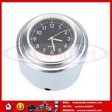 "KCM432 Brand New 7/8""- 1 "" Motorcycle handlebar Black Dial Clock & Thermometer for Harley Honda Yamaha Kawasaki Suzuki"