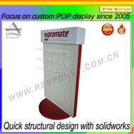 wooden rotating tabletop display stand,supermarket retail desktop display with hook,shop counter display unit
