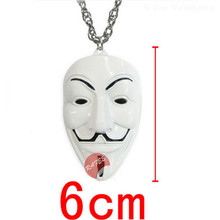 Hot Movie V for Vendetta White Pink Yellow Mask Necklace Cosplay