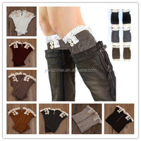 2015 Western style knitted women leg warmers, button down boot cuffs with lace