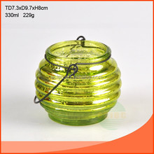 bling green glass ware with handle