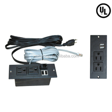 US power supply outlet with ports, Phone data network jack ,specially for furniture assemble,UL