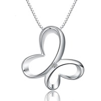 SJA89 Fine Genuine Jewellery Women Vogue S925 High Quality Polish Craft Smooth Surface Butterfly Necklace