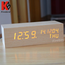 Home decoration luxury real wood cuboid retro clock with calendar