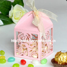 """2014 wedding favours! laser cut """"rose"""" wedding favour candy box pink from Mery Crafts"""