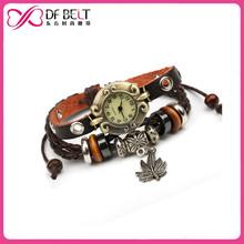 2015 alibaba braided pu cord bracelet watch
