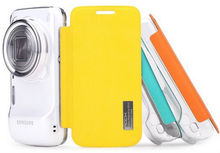 ROCK Brand Elegant Series clear PC Back + pu Leather Slim Case For Samsung Galaxy S4 Zoom