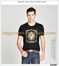 2015 High Quality Trendy Design Men Short Sleeve T shirt Men's Casual Beaded Fashion T-shirt