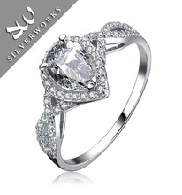 For Women Wholesale Beautiful S925 Sterling Silver Wedding rings with Zircon stone