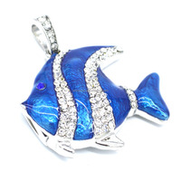 Jewelry blue fish shape usb flash disk with necklace Water proof Pen drive keychain