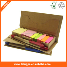 Stationery set sticky notes combined with arrow adhesive strips,ballpen,ruler, in craft box