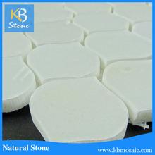Peach good quality & best price China Snow white marble mosaic
