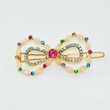 Rhinestone bow shape hair pins for girl