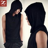 2015 Black Sleeveless Men's Hoody Wholesale Sweat Suits