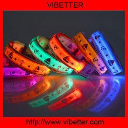 colorful customized logo led dog collar leashes