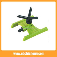 High Quality Garden Rotating Sprinkler with H-shape Base 3 Arms Plastic Watering Irrigation Sprinkler