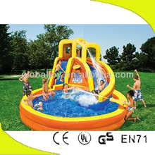 Inflatable baby/adult swim pool and slide