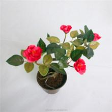 festival party mini decorative articial rose flower bonsai cheap factory artificial bonsai flower marking