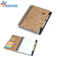 Promotional recycle cork cover school spiral notebook with pen and sticky notes