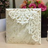 Affordable pearl white floral laser cut wedding invitations