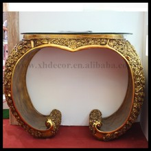 Antique gold color glass top luxury console table set hallway console table with mirror