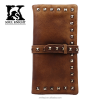 SK-8125 classic bifold genuine leather wallet with rivet phone case card holder